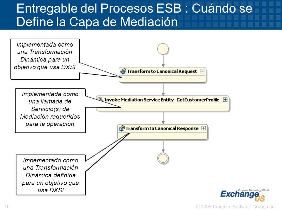 © 2008 Progress Software Corporation16 Entregable del Procesos ESB : Cuándo se Define la Capa de Mediación Implementada como una Transformación Dinámi