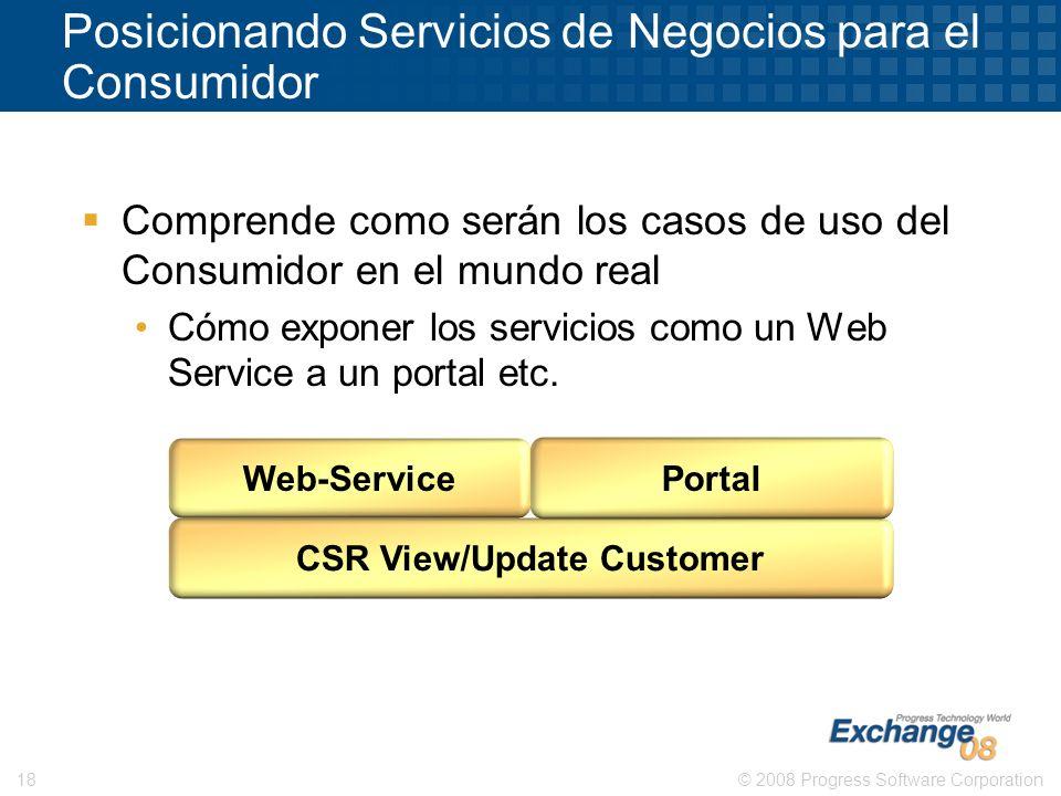 © 2008 Progress Software Corporation18 Comprende como serán los casos de uso del Consumidor en el mundo real Cómo exponer los servicios como un Web Se