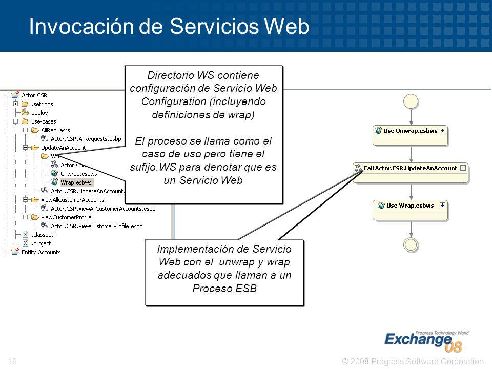 © 2008 Progress Software Corporation19 Invocación de Servicios Web Directorio WS contiene configuración de Servicio Web Configuration (incluyendo defi
