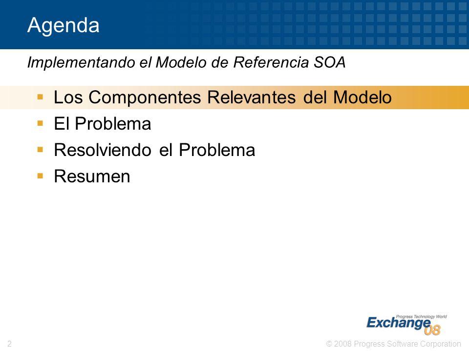 © 2008 Progress Software Corporation2 Agenda Los Componentes Relevantes del Modelo El Problema Resolviendo el Problema Resumen Implementando el Modelo