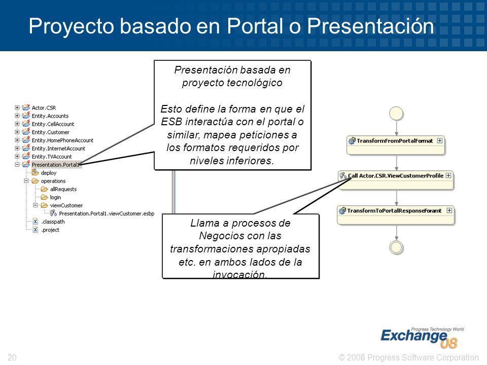 © 2008 Progress Software Corporation20 Proyecto basado en Portal o Presentación Presentación basada en proyecto tecnológico Esto define la forma en qu