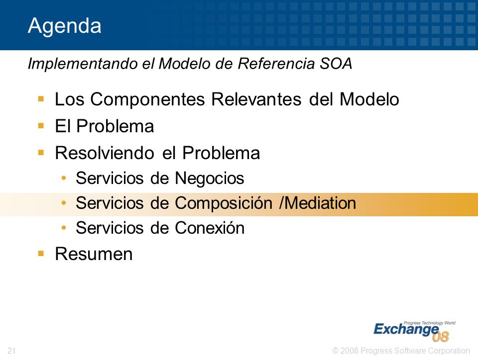 © 2008 Progress Software Corporation21 Agenda Los Componentes Relevantes del Modelo El Problema Resolviendo el Problema Servicios de Negocios Servicio