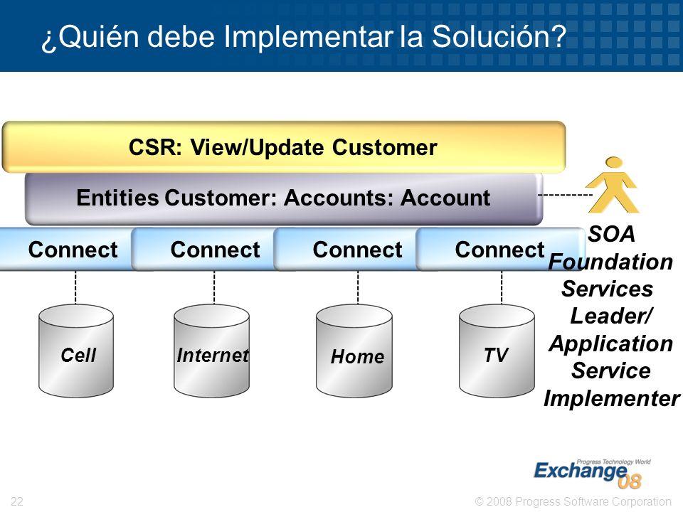 © 2008 Progress Software Corporation22 ¿Quién debe Implementar la Solución? Entities Customer: Accounts: Account CSR: View/Update Customer Cell Intern