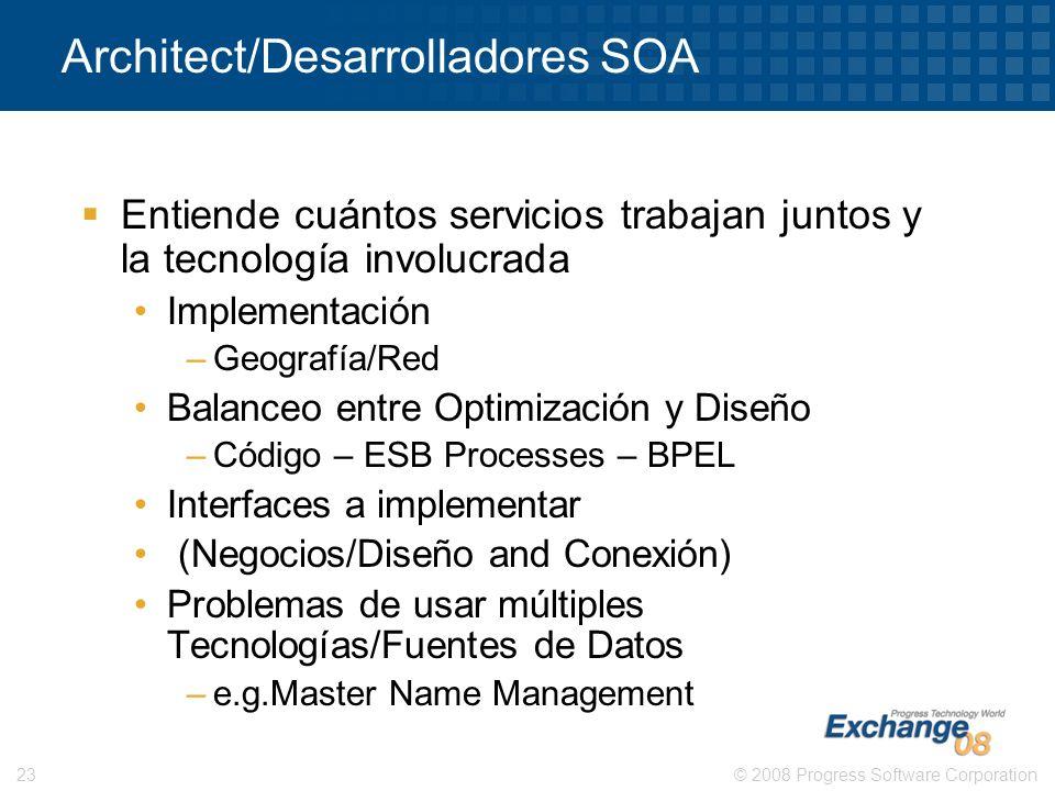 © 2008 Progress Software Corporation23 Architect/Desarrolladores SOA Entiende cuántos servicios trabajan juntos y la tecnología involucrada Implementa
