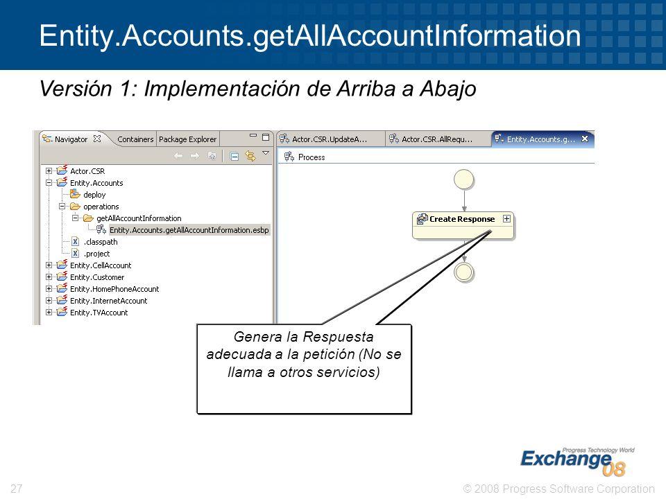 © 2008 Progress Software Corporation27 Entity.Accounts.getAllAccountInformation Versión 1: Implementación de Arriba a Abajo Genera la Respuesta adecua