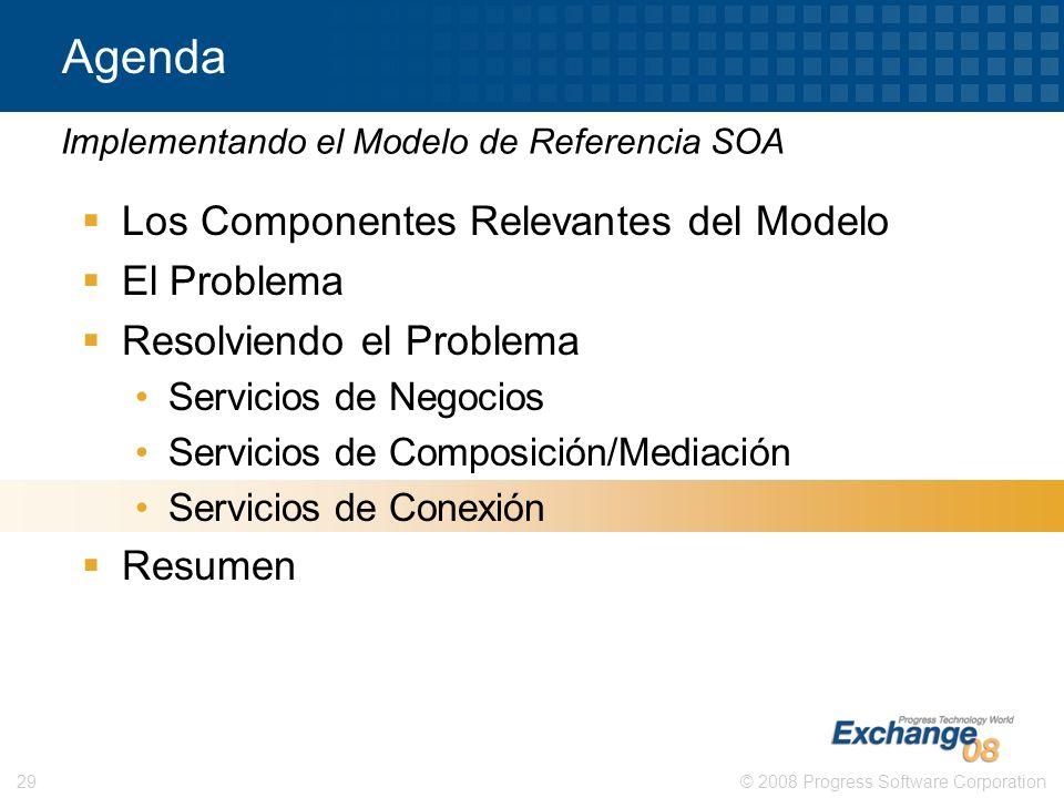 © 2008 Progress Software Corporation29 Agenda Los Componentes Relevantes del Modelo El Problema Resolviendo el Problema Servicios de Negocios Servicio