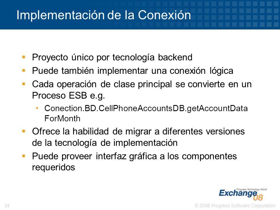 © 2008 Progress Software Corporation34 Implementación de la Conexión Proyecto único por tecnología backend Puede también implementar una conexión lógi