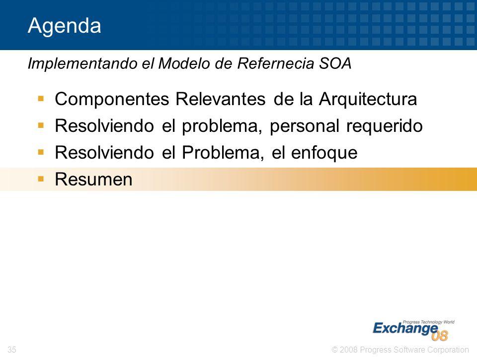 © 2008 Progress Software Corporation35 Agenda Componentes Relevantes de la Arquitectura Resolviendo el problema, personal requerido Resolviendo el Pro