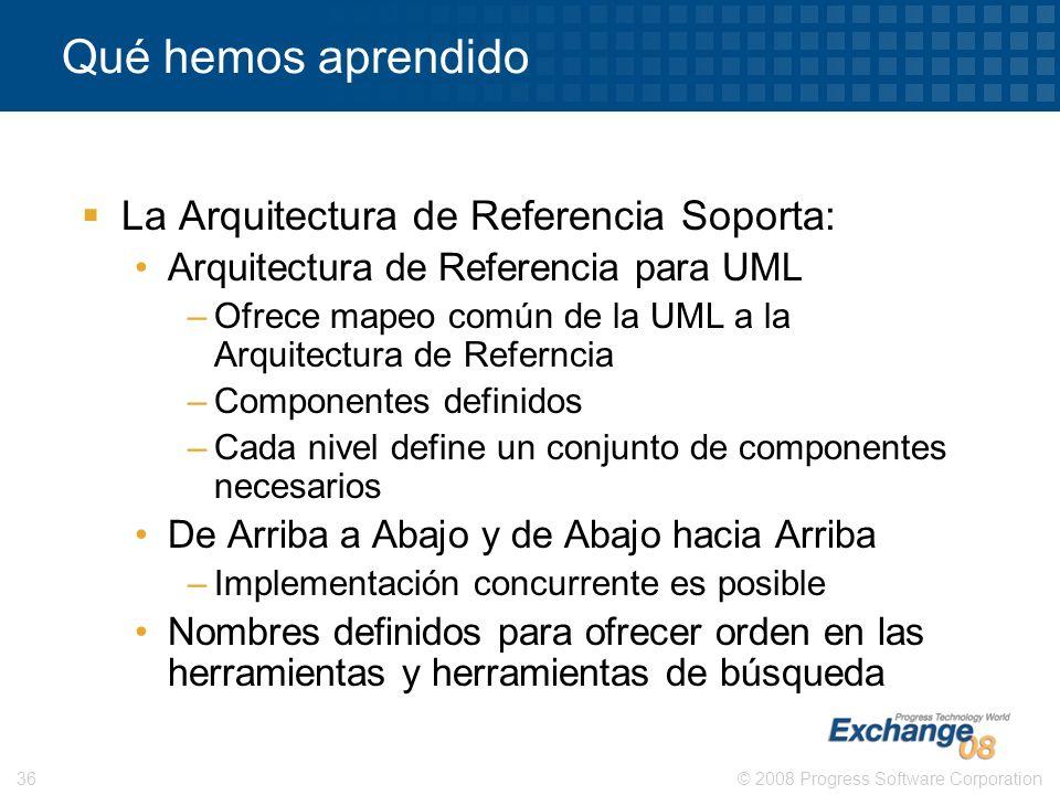 © 2008 Progress Software Corporation36 Qué hemos aprendido La Arquitectura de Referencia Soporta: Arquitectura de Referencia para UML –Ofrece mapeo co