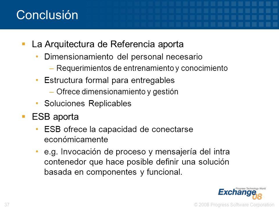 © 2008 Progress Software Corporation37 Conclusión La Arquitectura de Referencia aporta Dimensionamiento del personal necesario –Requerimientos de entr