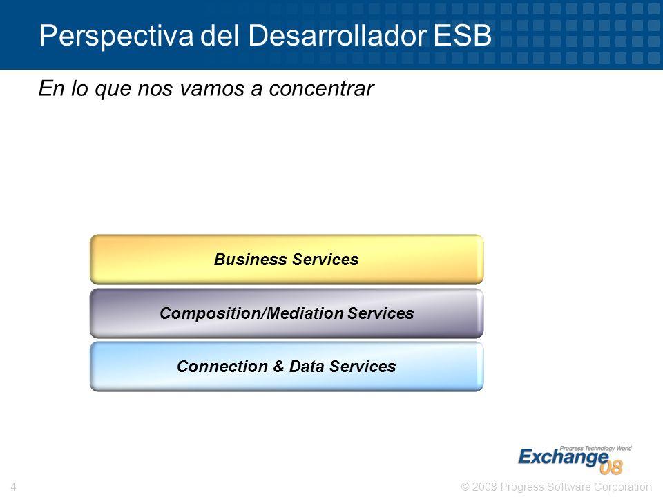 © 2008 Progress Software Corporation4 Perspectiva del Desarrollador ESB En lo que nos vamos a concentrar Connection & Data Services Business Services