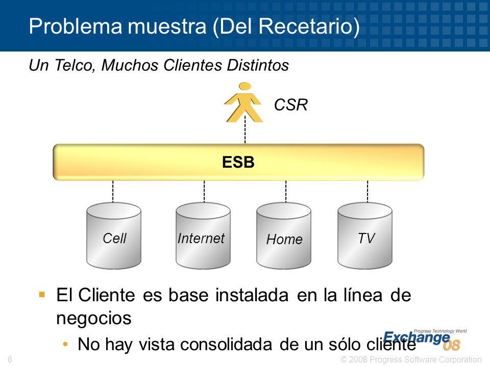 © 2008 Progress Software Corporation6 Problema muestra (Del Recetario) Un Telco, Muchos Clientes Distintos CSR El Cliente es base instalada en la líne