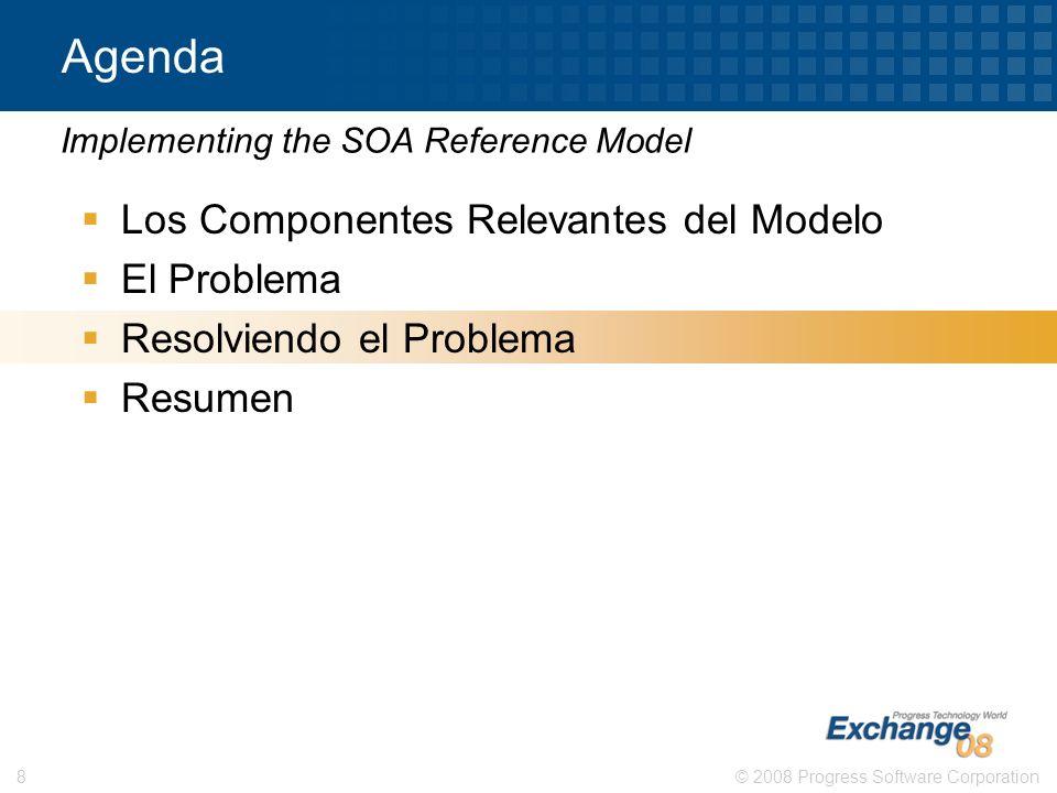 © 2008 Progress Software Corporation8 Agenda Los Componentes Relevantes del Modelo El Problema Resolviendo el Problema Resumen Implementing the SOA Re