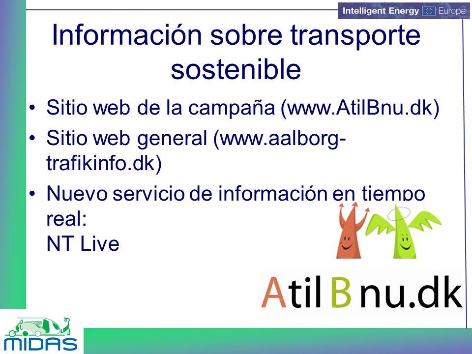 Información sobre transporte sostenible Sitio web de la campaña (www.AtilBnu.dk) Sitio web general (www.aalborg- trafikinfo.dk) Nuevo servicio de información en tiempo real: NT Live