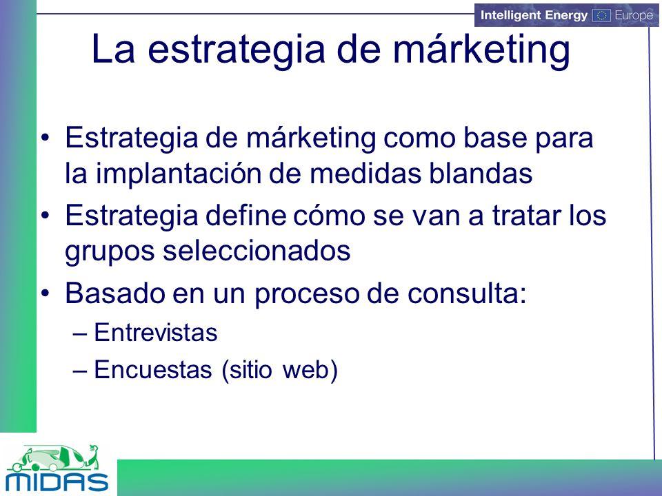La estrategia de márketing Estrategia de márketing como base para la implantación de medidas blandas Estrategia define cómo se van a tratar los grupos seleccionados Basado en un proceso de consulta: –Entrevistas –Encuestas (sitio web)