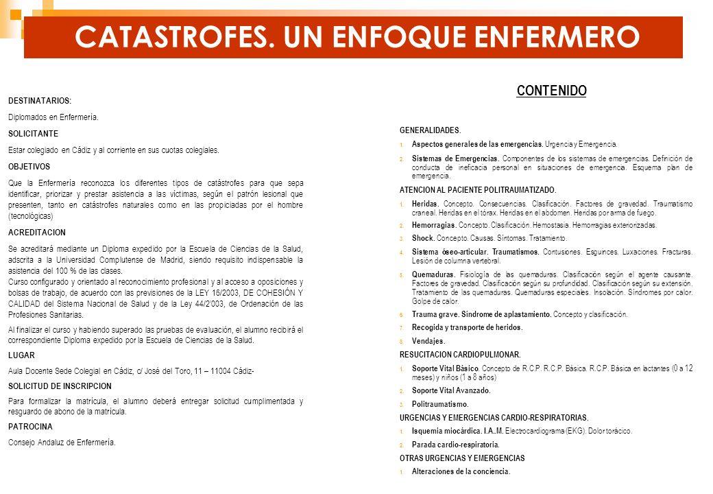 CONTENIDO GENERALIDADES. 1. Aspectos generales de las emergencias. Urgencia y Emergencia. 2. Sistemas de Emergencias. Componentes de los sistemas de e