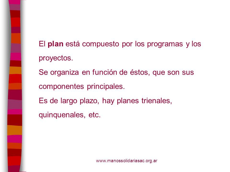 www.manossolidariasac.org.ar El plan está compuesto por los programas y los proyectos. Se organiza en función de éstos, que son sus componentes princi