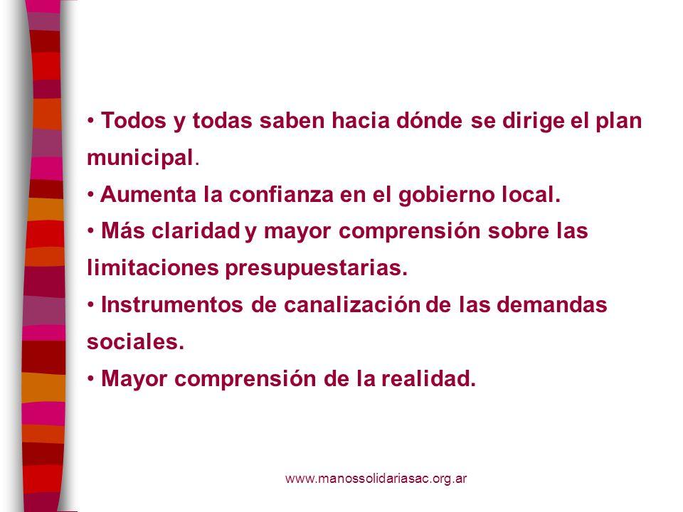www.manossolidariasac.org.ar Todos y todas saben hacia dónde se dirige el plan municipal. Aumenta la confianza en el gobierno local. Más claridad y ma