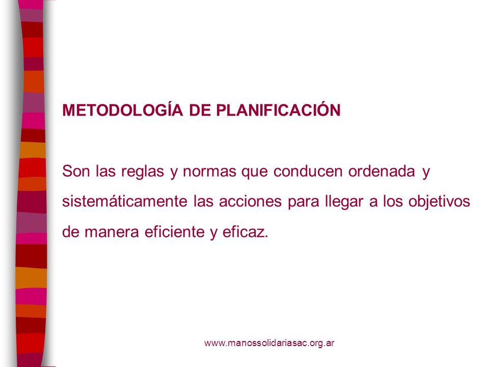 www.manossolidariasac.org.ar METODOLOGÍA DE PLANIFICACIÓN Son las reglas y normas que conducen ordenada y sistemáticamente las acciones para llegar a