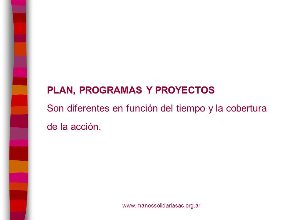 www.manossolidariasac.org.ar PLAN, PROGRAMAS Y PROYECTOS Son diferentes en función del tiempo y la cobertura de la acción.