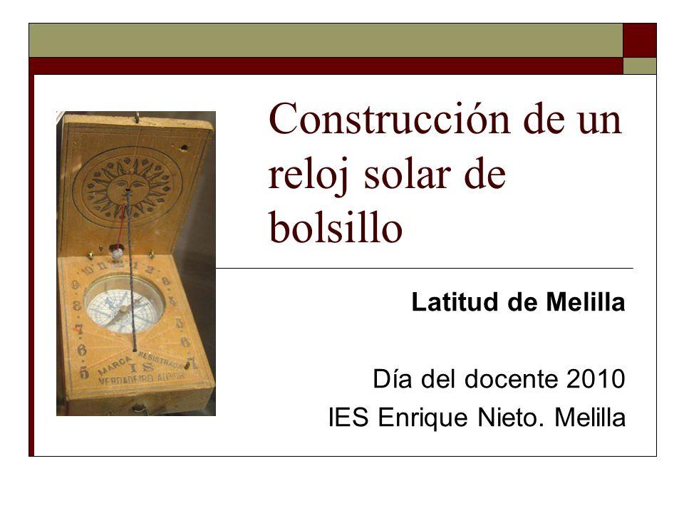 Construcción de un reloj solar de bolsillo Latitud de Melilla Día del docente 2010 IES Enrique Nieto. Melilla