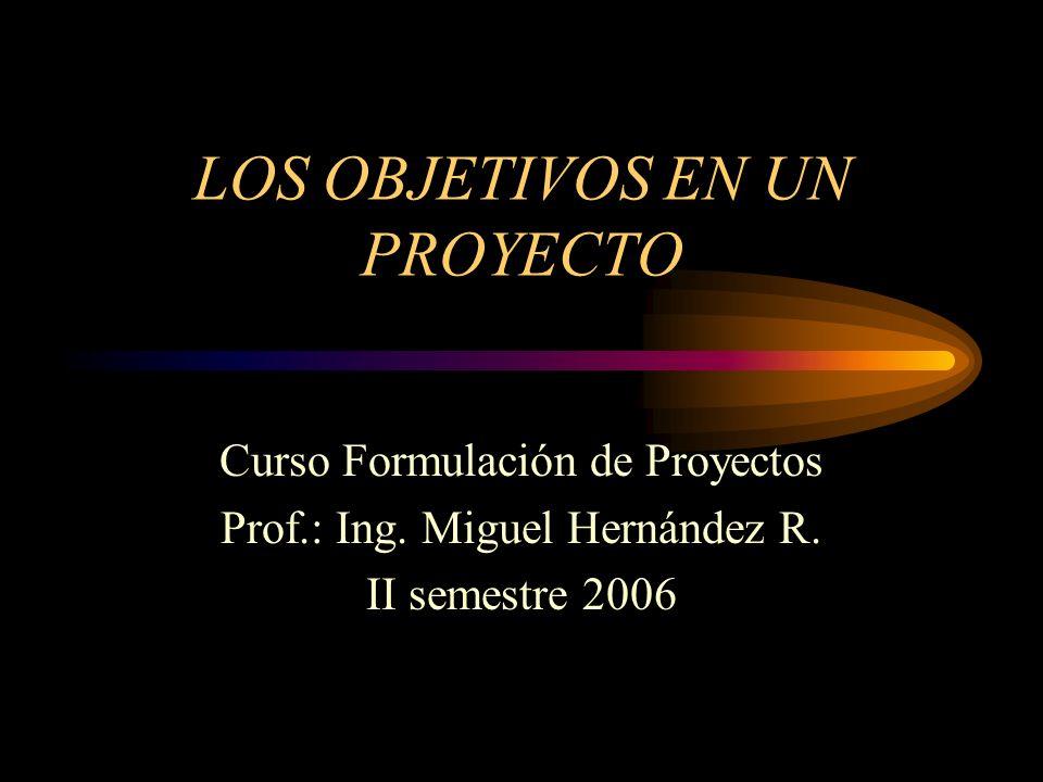 LOS OBJETIVOS EN UN PROYECTO Curso Formulación de Proyectos Prof.: Ing. Miguel Hernández R. II semestre 2006