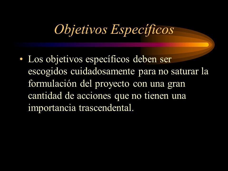 Objetivos Específicos Los objetivos específicos deben ser escogidos cuidadosamente para no saturar la formulación del proyecto con una gran cantidad d