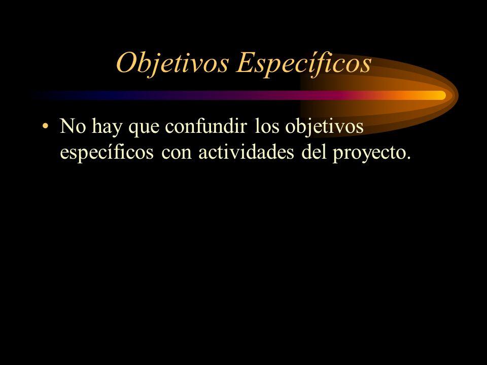 Objetivos Específicos No hay que confundir los objetivos específicos con actividades del proyecto.