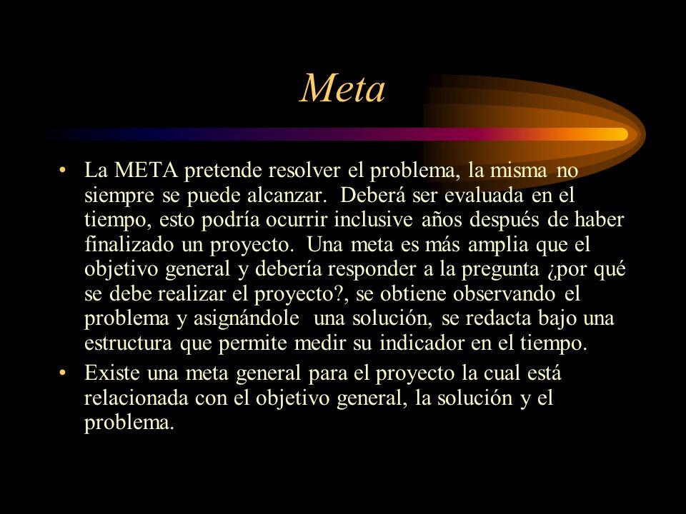 Meta La META pretende resolver el problema, la misma no siempre se puede alcanzar. Deberá ser evaluada en el tiempo, esto podría ocurrir inclusive año