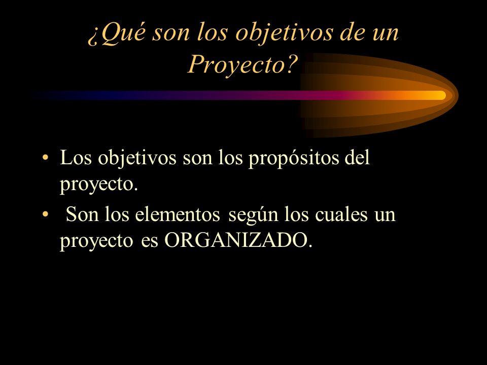 ¿Qué son los objetivos de un Proyecto? Los objetivos son los propósitos del proyecto. Son los elementos según los cuales un proyecto es ORGANIZADO.