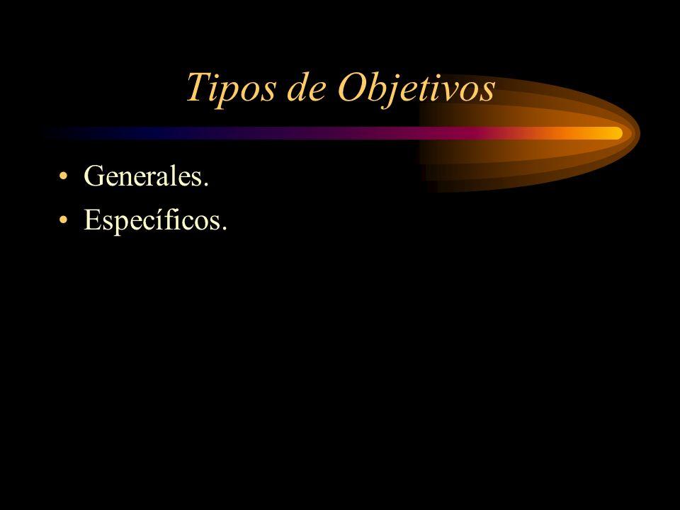 Tipos de Objetivos Generales. Específicos.