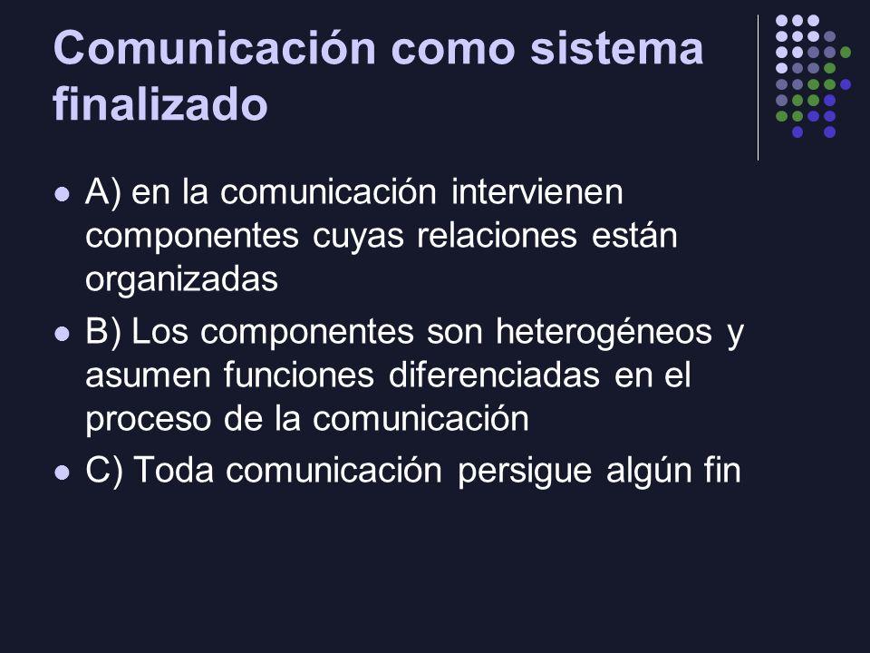 Comunicación como sistema finalizado A) en la comunicación intervienen componentes cuyas relaciones están organizadas B) Los componentes son heterogén