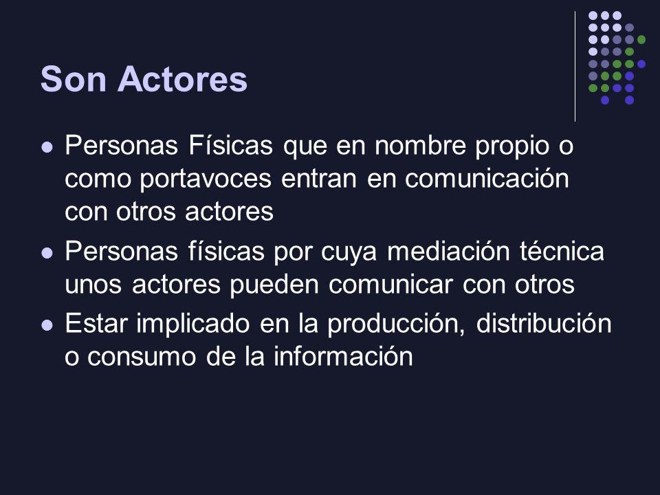Son Actores Personas Físicas que en nombre propio o como portavoces entran en comunicación con otros actores Personas físicas por cuya mediación técni