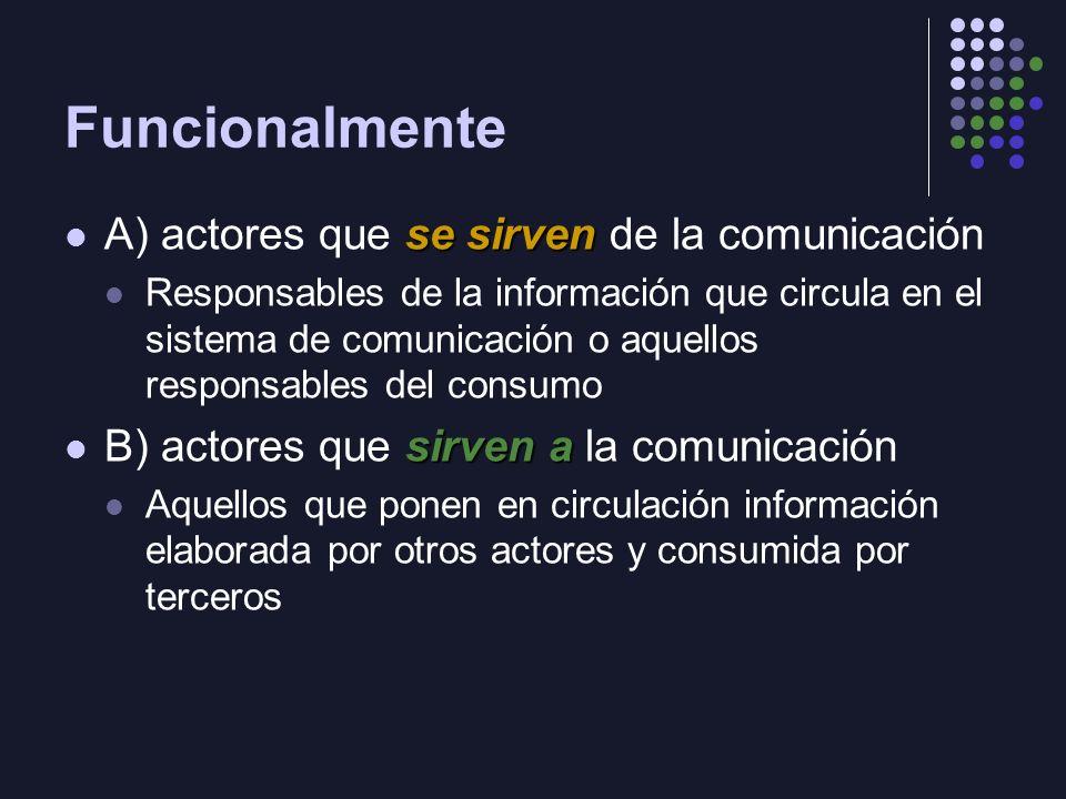 Funcionalmente se sirven A) actores que se sirven de la comunicación Responsables de la información que circula en el sistema de comunicación o aquell