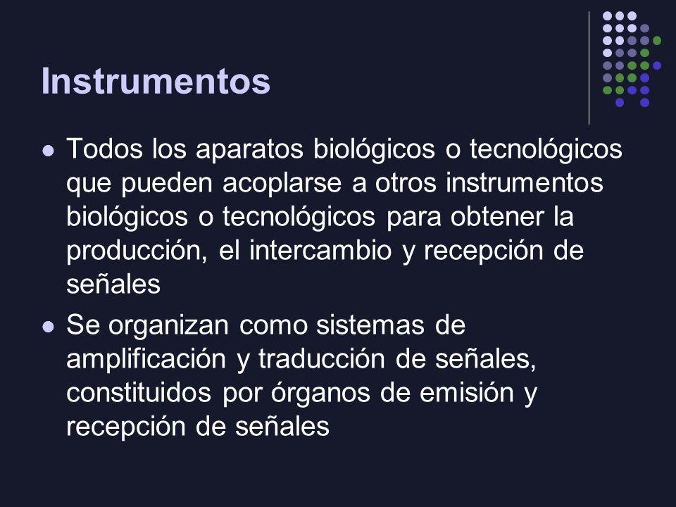 Instrumentos Todos los aparatos biológicos o tecnológicos que pueden acoplarse a otros instrumentos biológicos o tecnológicos para obtener la producci