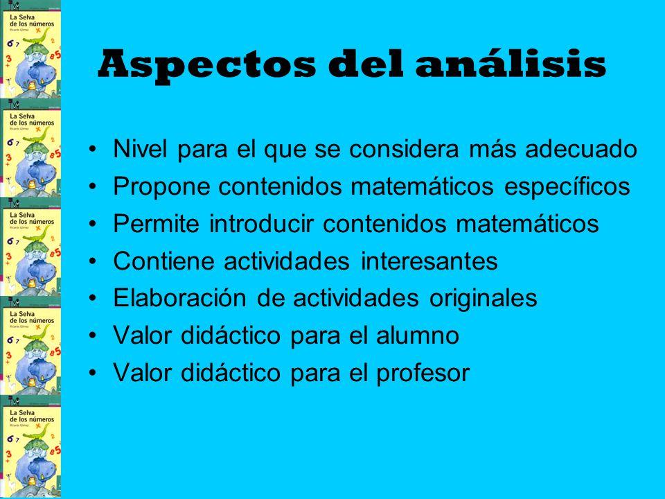 Aspectos del análisis Nivel para el que se considera más adecuado Propone contenidos matemáticos específicos Permite introducir contenidos matemáticos Contiene actividades interesantes Elaboración de actividades originales Valor didáctico para el alumno Valor didáctico para el profesor