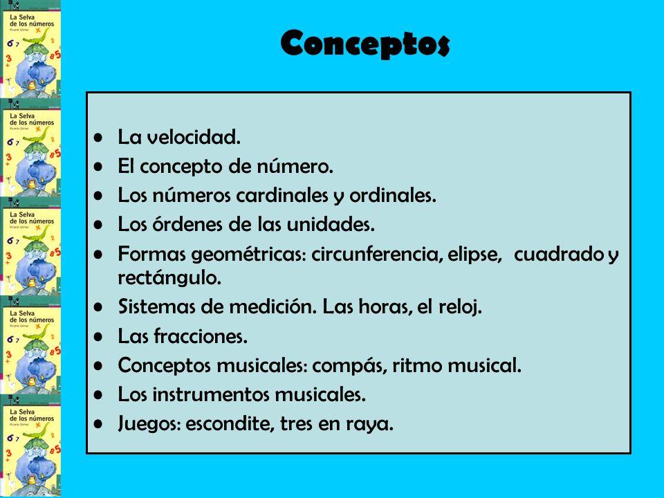 Conceptos La velocidad.El concepto de número. Los números cardinales y ordinales.