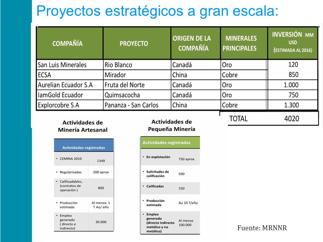 Proyectos estratégicos a gran escala: Fuente: MRNNR