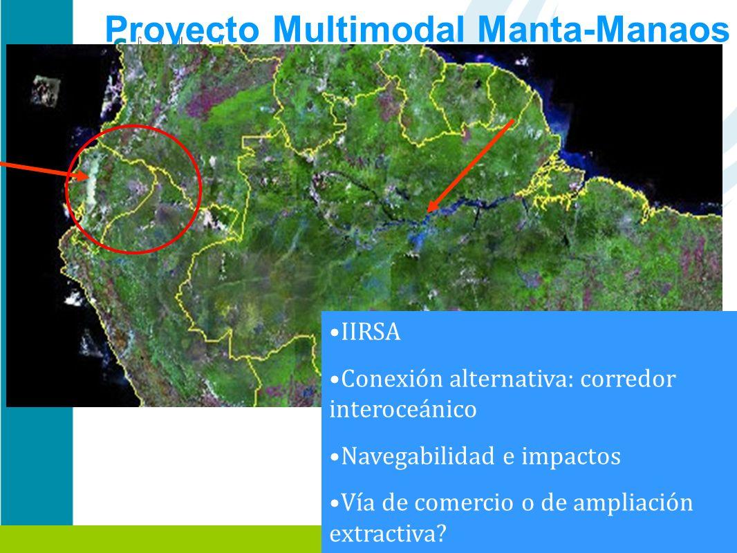 Proyecto Multimodal Manta-Manaos Manta-Manaos: Región Amazónica Ecuatoriana IIRSA Conexión alternativa: corredor interoceánico Navegabilidad e impacto