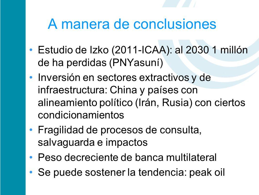 A manera de conclusiones Estudio de Izko (2011-ICAA): al 2030 1 millón de ha perdidas (PNYasuní) Inversión en sectores extractivos y de infraestructur