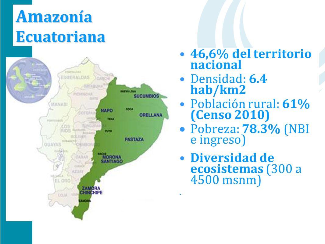 Am azonía Ecuatoriana 46,6% del territorio nacional Densidad: 6.4 hab/km2 Población rural: 61% (Censo 2010) Pobreza: 78.3% (NBI e ingreso) Diversidad