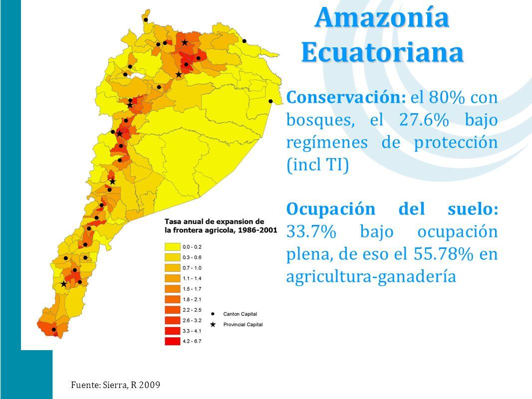 Conservación: el 80% con bosques, el 27.6% bajo regímenes de protección (incl TI) Ocupación del suelo: 33.7% bajo ocupación plena, de eso el 55.78% en