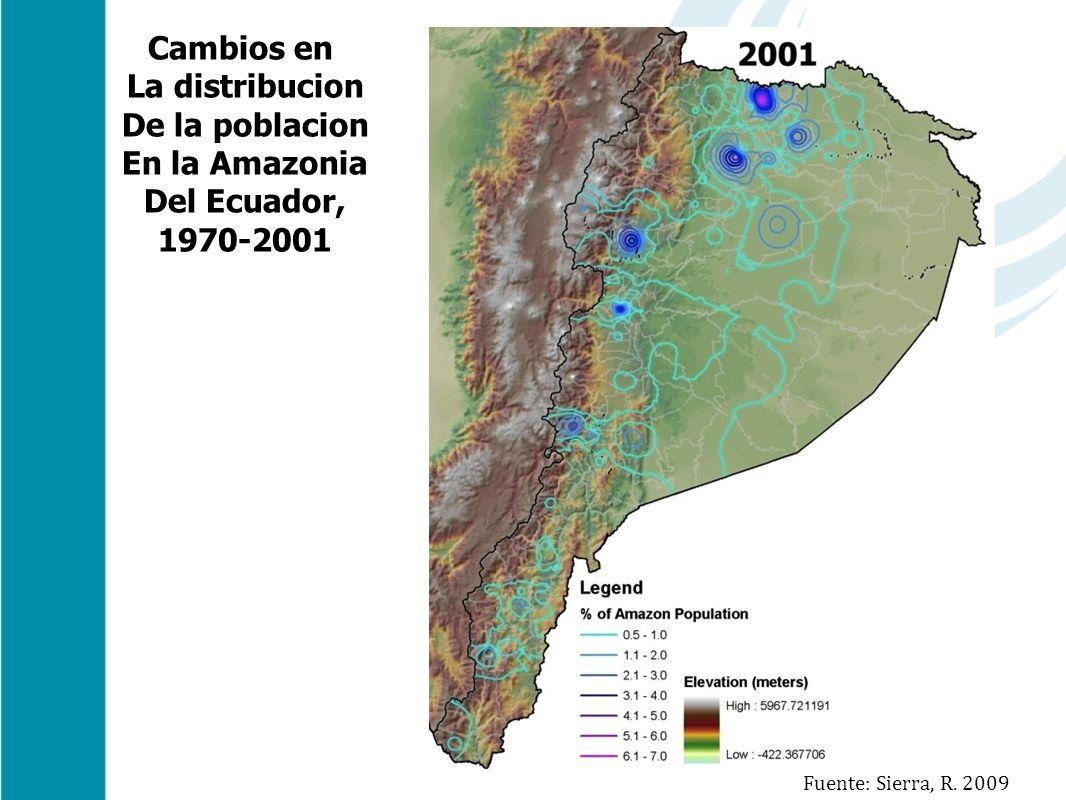Cambios en La distribucion De la poblacion En la Amazonia Del Ecuador, 1970-2001 Fuente: Sierra, R. 2009