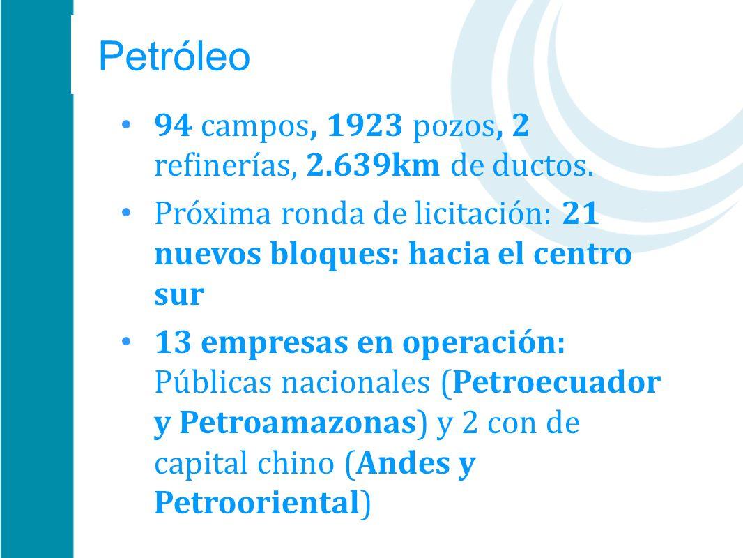 Petróleo 94 campos, 1923 pozos, 2 refinerías, 2.639km de ductos. Próxima ronda de licitación: 21 nuevos bloques: hacia el centro sur 13 empresas en op