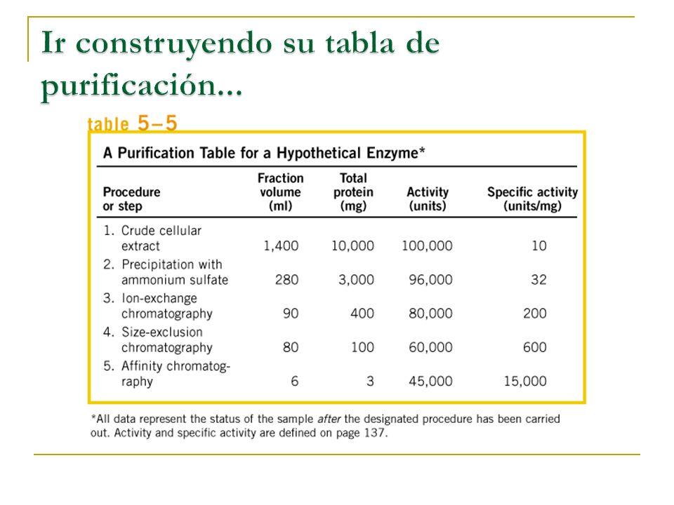 El rendimiento Parámetro expresado en porcentaje que se obtiene de medir la actividad biológica de la proteína de interés en cada paso de la purificación.