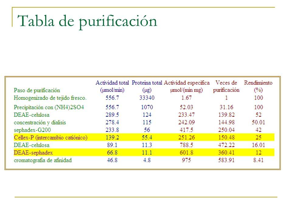 ¿Qué necesitamos hacer para construir nuestra tabla de purificación de la LDH.