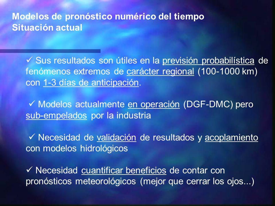 Modelos de pronóstico numérico del tiempo Situación actual Sus resultados son útiles en la previsión probabilística de fenómenos extremos de carácter