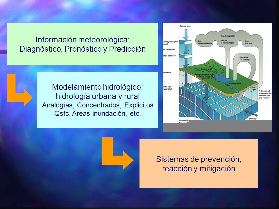 Información meteorológica: Diagnóstico, Pronóstico y Predicción Modelamiento hidrológico: hidrología urbana y rural Analogías, Concentrados, Explicito