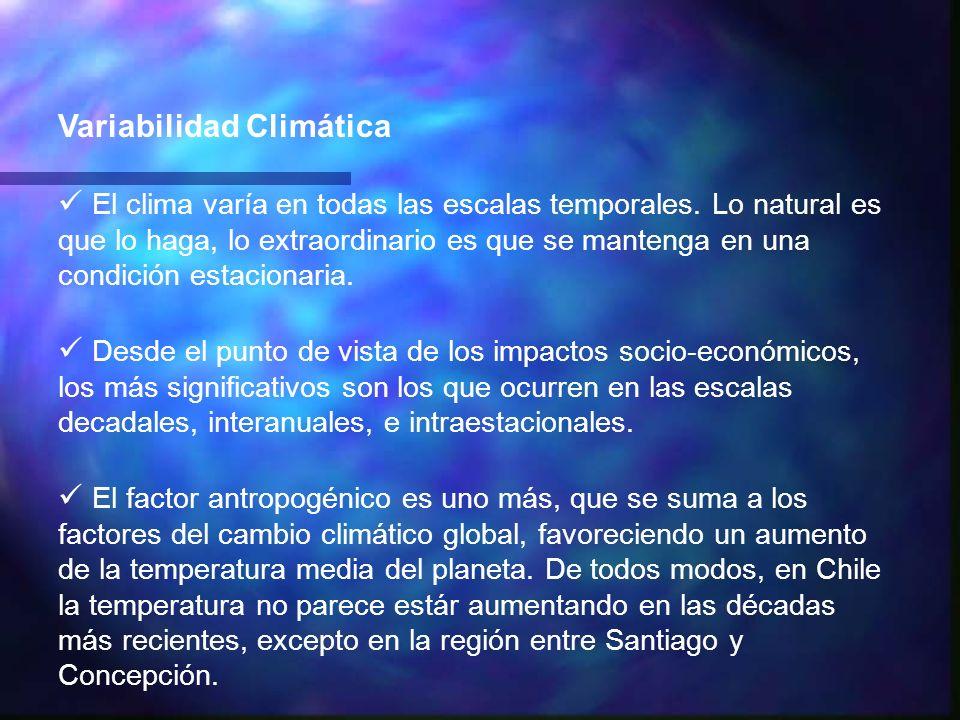 Variabilidad Climática El clima varía en todas las escalas temporales. Lo natural es que lo haga, lo extraordinario es que se mantenga en una condició