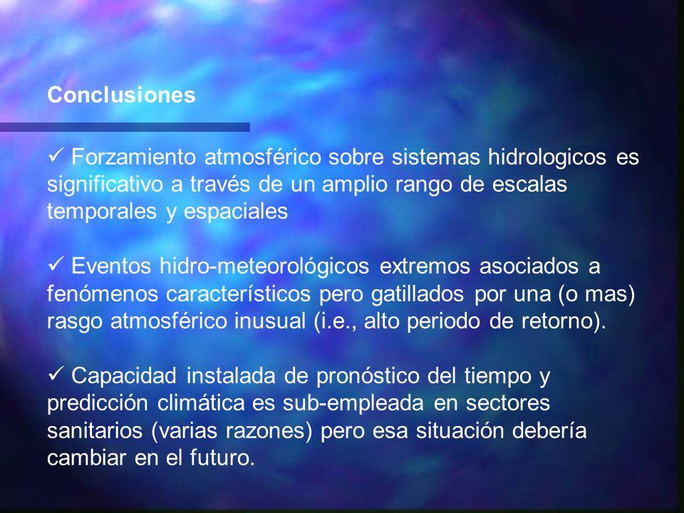 Conclusiones Forzamiento atmosférico sobre sistemas hidrologicos es significativo a través de un amplio rango de escalas temporales y espaciales Event